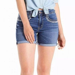 NEW! Levi's Floral Embroidery Cuffed Denim Shorts